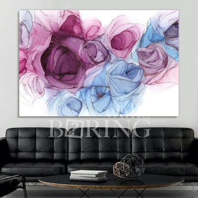 Pink and Blue Abstract Fine Art Canvas Print BoringWalls