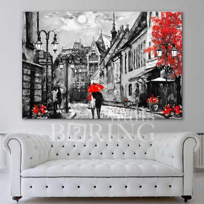Street view of Budapest Artwork Canvas Print BoringWalls