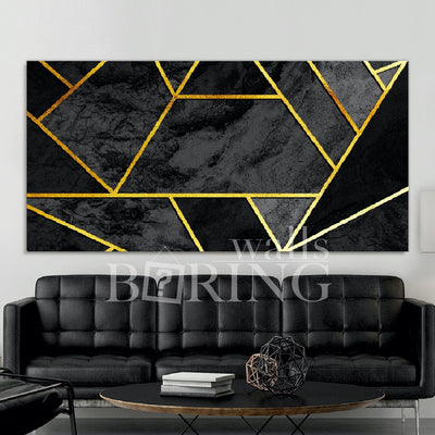 Black and Gold Geometric Wall Art Canvas Print BoringWalls