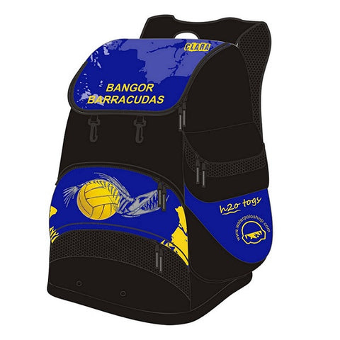 Waterpoloshop - H2OTOGS Customised - Bangor Barracudas Backpack / Rucksack + NAME