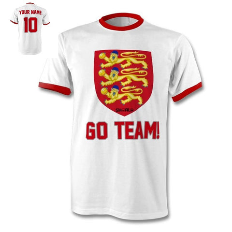 SHOALO England 3 Lions - PERSONALISED Ringer Men's T-Shirt / Tee