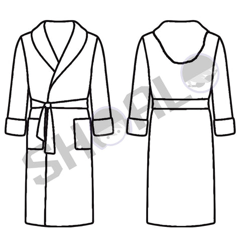 SHOALO Custom Design - Unisex Hooded MICROFIBRE Bathrobe / Robe