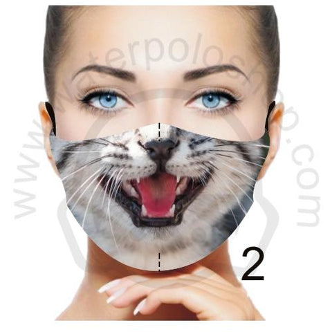 Face Mask - Reuseable / Washable Fabric With Filter Pocket (2) - Grey Cat