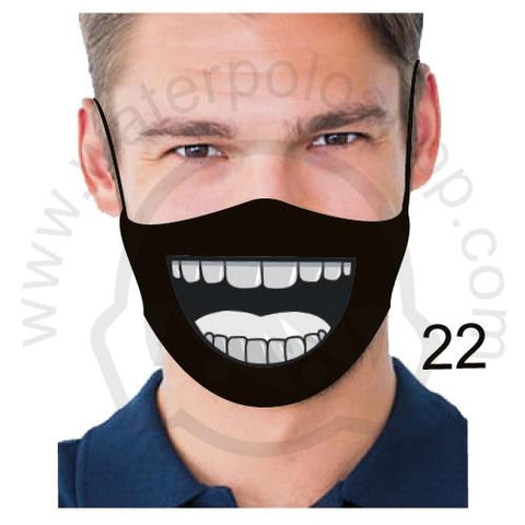 Face Mask - Reuseable / Washable Fabric With Filter Pocket (22) - Grey Teeth