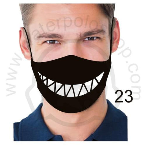Face Mask - Reuseable / Washable Fabric With Filter Pocket (23) - Triangle Teeth
