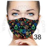 Face Mask - Reuseable / Washable Fabric With Filter Pocket (38) - Stylised Flowers