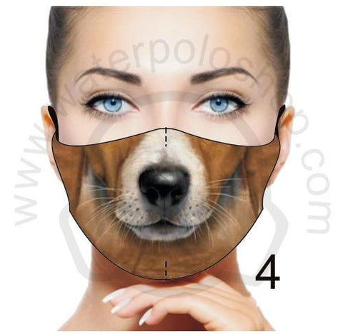 Face Mask - Reuseable / Washable Fabric With Filter Pocket (4) - Beige Dog