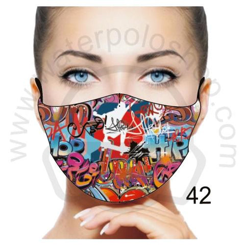 Face Mask - Reuseable / Washable Fabric With Filter Pocket (42) - Graffiti