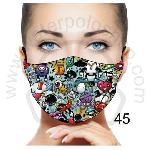 Face Mask - Reuseable / Washable Fabric With Filter Pocket (45) - Fun Emoji