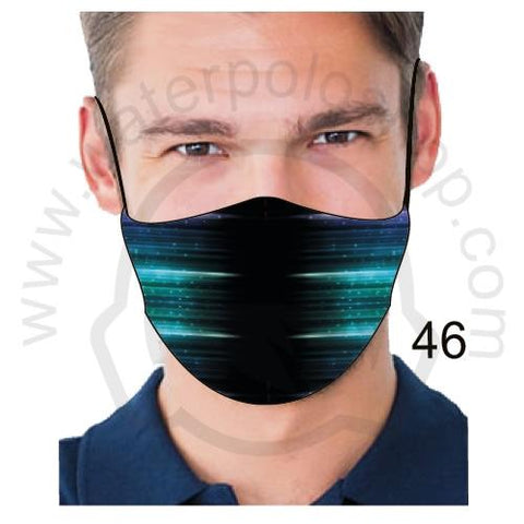 Face Mask - Reuseable / Washable Fabric With Filter Pocket (46) - Blue Lights