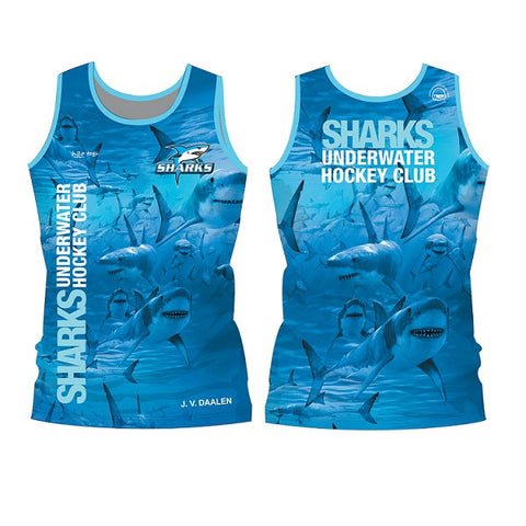 H2OTOGS Customised - Pakuranga Sharks UWH Unisex MESH Vest / Singlet + NAME