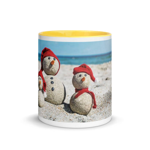 SHOALO - Snowmen on Beach - Mug with Colour Inside - VARIOUS COLOURS