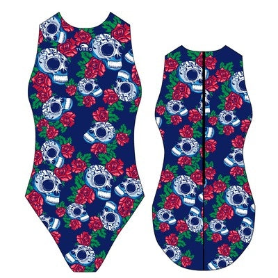 TURBO Roses 26 Skulls - 89844 - Womens Water Polo Suits / Costume