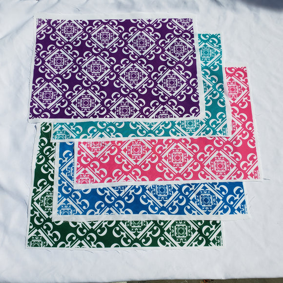 Fabric pieces for masks - c clef pattern
