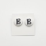 Fabric Button Clef Earrings