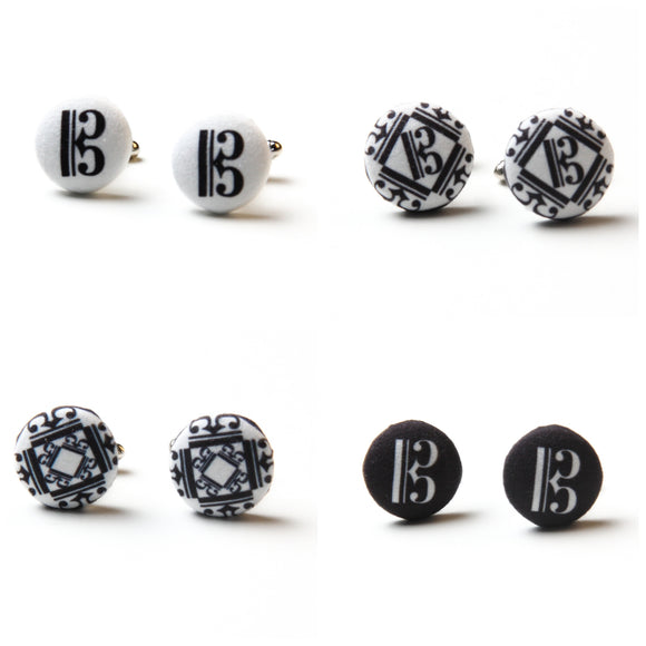 Alto clef fabric button cufflinks, white with black c clef or black with white c clef.