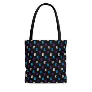 Black tote bag with colorful alto clefs