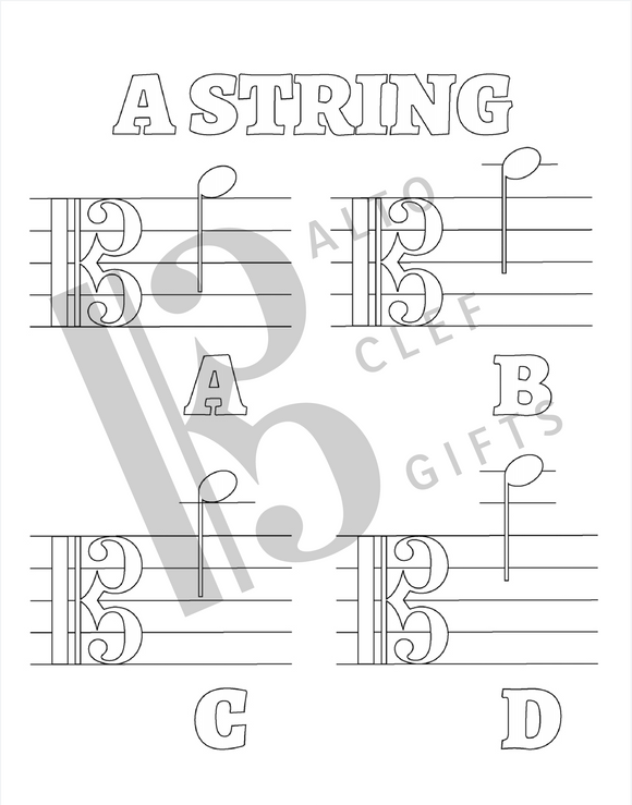 Note reading coloring pages DIGITAL DOWNLOAD - violin, viola, and cello