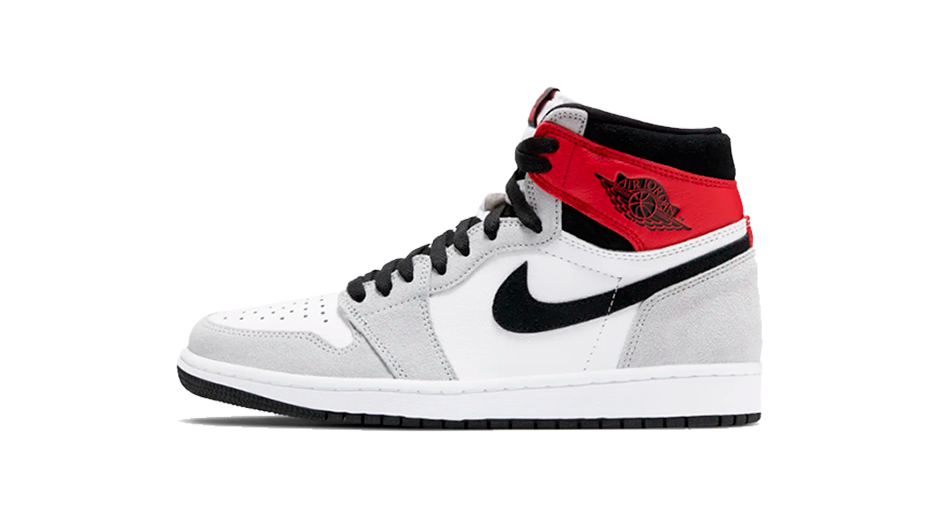 Air-Jordan 1 Smoke Grey Sneaker Matching Tee Collection Shoe Side Image