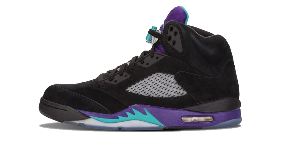 Air Jordan 5 Black Grape Sneaker Release Tees Sub Category Shoe Side View Photo