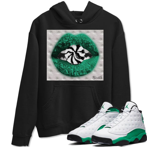 Lips Candy Black Hoodie - Air Jordan 13 Retro White Lucky Green AJ 13 Hoodie AJ13 Lucky Green Heather Grey Sneaker Matching Outfit Image