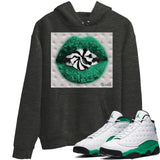 Lips Candy Charcoal Heather Grey Hoodie - Air Jordan 13 Retro White Lucky Green AJ 13 Hoodie AJ13 Lucky Green Heather Grey Sneaker Matching Outfit Image