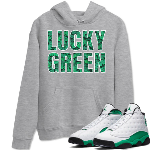 Lucky Green Heather Grey Hoodie - Air Jordan 13 Retro White Lucky Green AJ 13 Hoodie AJ13 Lucky Green Heather Grey Sneaker Matching Outfit Image