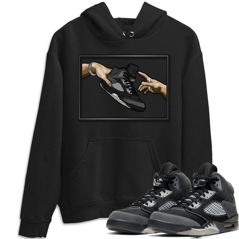 Air Jordan 5 Retro Anthracite Adam's Creation Unisex Hoodie Matching Outfits AJ5 Anthracite Image Black Long Sleeve Sweaters