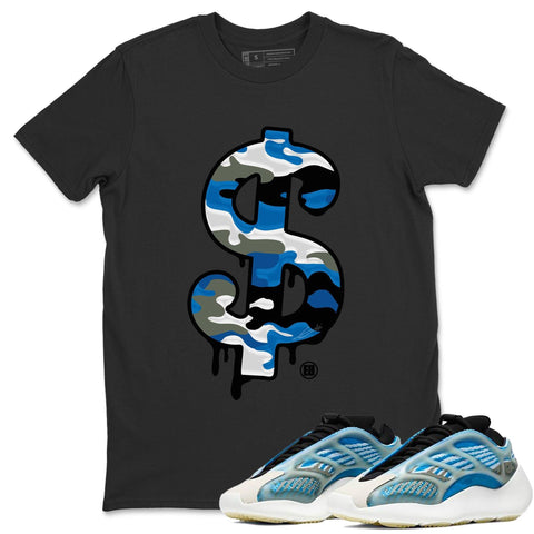 Adidas Yeezy 700 V3 Arzareth Sneaker Shirts And Sneaker Matching Outfits Dollar Camo Black T-Shirt Image