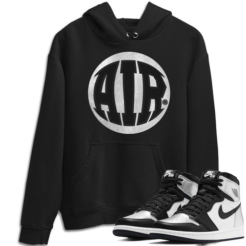 Air Jordan 1 High OG WMNS Silver Toe Air Design Long Sleeve Hoodie Matching Unisex Pullover Outfits AJ1 Silver Toe Image Black Long Sleeve Sweaters