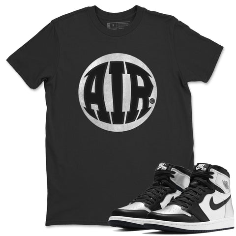 Air Jordan 1 High OG WMNS Silver Toe Air Design Crew Neck T-Shirt Matching Unisex Outfits AJ1 Silver Toe Image Black Short Sleeve Tees