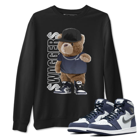 Bear Swaggers Sweatshirt - Air Jordan 1 High OG Midnight Navy Air Jordan 1 Unisex Crew Neck Long Sleeve Pullover Black S