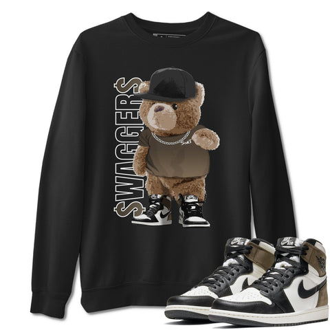Bear Swaggers Unisex Sweatshirt - Air Jordan 1 Retro High OG Dark Mocha Sneaker Matching Outfits Long Sleeve Black Pullover S