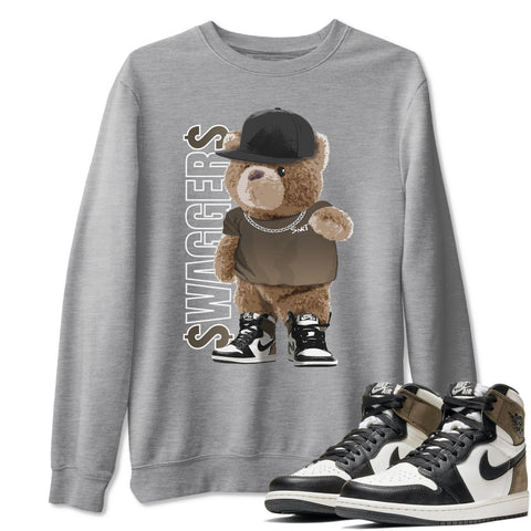 Bear Swaggers Unisex Sweatshirt - Air Jordan 1 Retro High OG Dark Mocha Sneaker Matching Outfits Long Sleeve Heather Grey Pullover S