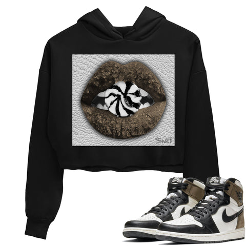 Air Jordan 1 Retro High OG Dark Mocha Sneaker Long Sleeve Women Crop Hoodie And Outfits Lips Candy Black Crop Hoodies S