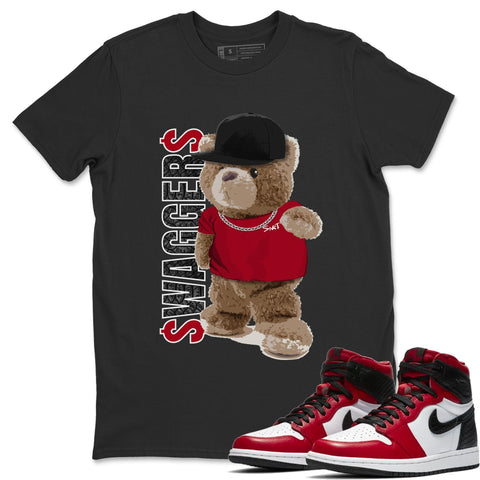 Bear Swaggers T-Shirt - Air Jordan 1 Satin Red Air Jordan 1 Shirt Jordan 1 Satin Red Black S