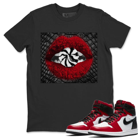 Lips Candy T-Shirt - Air Jordan 1 Satin Red Air Jordan 1 Shirt Jordan 1 Satin Red Black S