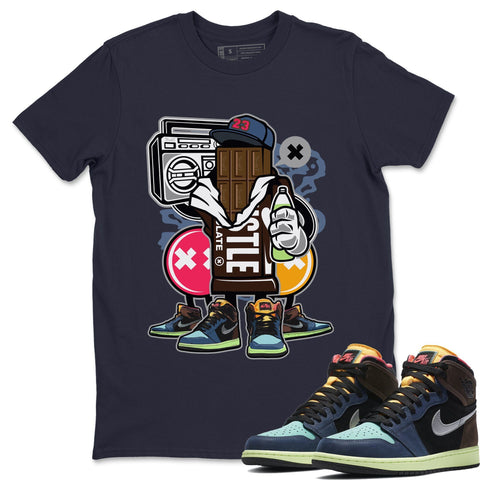 Air Jordan 1 Retro High OG Bio Hack Sneaker Matching Tees and Outfit Chocolate Squad Navy T Shirt Image