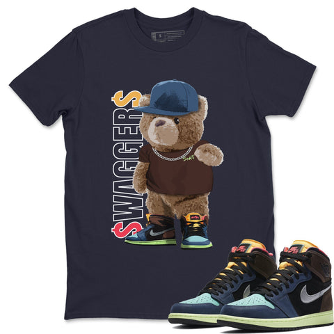 Air Jordan 1 Retro High OG Bio Hack Sneaker Matching Tees and Outfit Bear Swaggers  Navy T Shirt Image