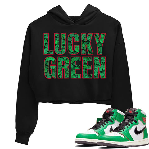 Air Jordan 1 Retro High OG Lucky Green Sneaker Crew Neck Long Sleeve Crop Womens Lucky Green Crop Hoodie Black Hoodies S