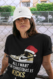 All I Want For Christmas Is Kicks T-Shirt - Air Jordan 1 Metallic Gold Air Jordan 1 Unisex Crew Neck T Shirt Jordan 1 Mid SE Metallic Gold Black Tee 4