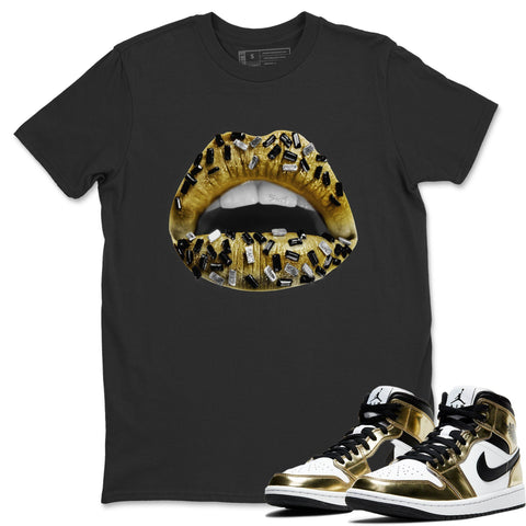Lips Jewel T-Shirt - Air Jordan 1 Metallic Gold Air Jordan 1 Unisex Crew Neck T Shirt Jordan 1 Mid SE Metallic Gold Black Tee