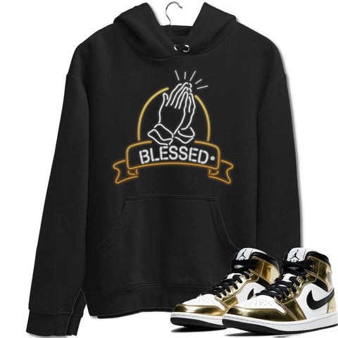 Air Jordan 1 Mid SE Metallic Gold Sneaker Long Sleeve Hoodies And Outfits Blessed Black Unisex Hoodie S