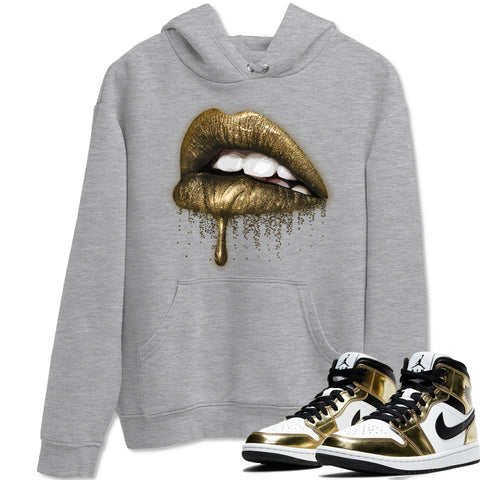 Air Jordan 1 Mid SE Metallic Gold Sneaker Long Sleeve Hoodies And Outfits Dripping Lips Heather Grey Unisex Hoodie S