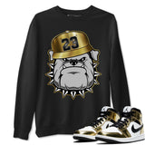 English Bulldog Unisex Sweatshirt - Air Jordan 1 Mid SE Metallic Gold Sneaker Matching Outfits Long Sleeve Black Pullover S