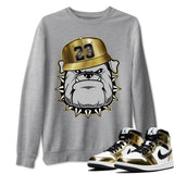 English Bulldog Unisex Sweatshirt - Air Jordan 1 Mid SE Metallic Gold Sneaker Matching Outfits Long Sleeve Heather Grey Pullover S