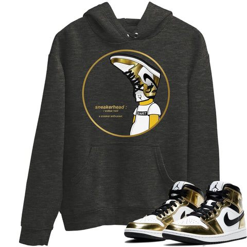 Air Jordan 1 Mid SE Metallic Gold Sneaker Long Sleeve Hoodies And Outfits Sneakerhead Charcoal Heather Unisex Hoodie S