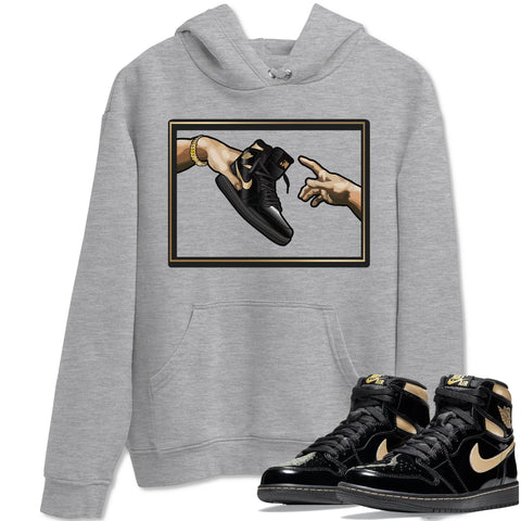 Air Jordan 1 Retro High OG Black Metallic Gold Sneaker Long Sleeve Hoodies And Outfits Adam's Creation Heather Grey Unisex Hoodie S