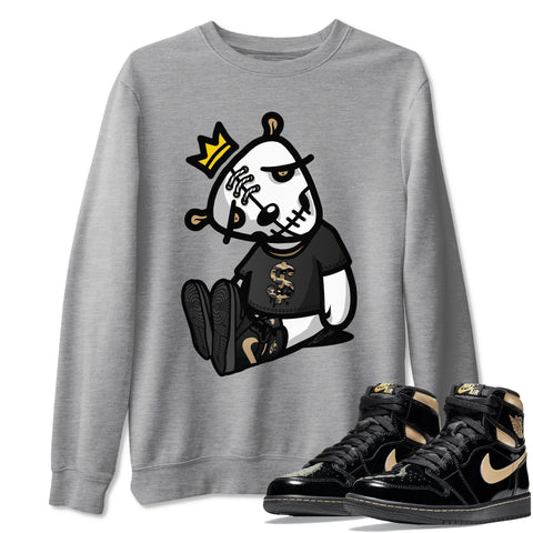 Dead Dolls Unisex Sweatshirt - Air Jordan 1 Retro High OG Black Metallic Gold Sneaker Matching Outfits Long Sleeve Heather Grey Pullover S