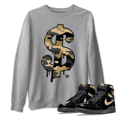 Dollar Camo Unisex Sweatshirt - Air Jordan 1 Retro High OG Black Metallic Gold Sneaker Matching Outfits Long Sleeve Heather Grey Pullover S
